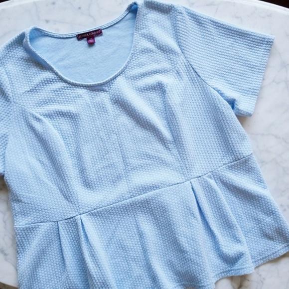 85633052683 Jessica London Tops - Jessica London Baby Blue Peplum Top - 18 20